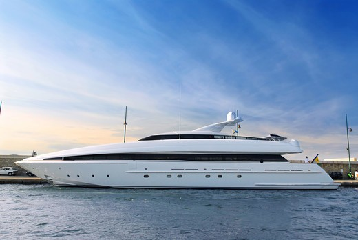 Stock Photo: 4286R-3388 Large luxury yacht anchored at St. Tropez in French Riviera