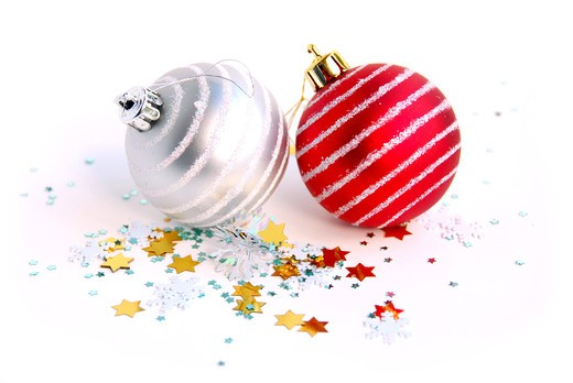 Two christmas glass balls on white background : Stock Photo