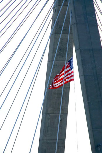 Stock Photo: 4286R-4132 Detail of Leonard Zakim bridge in Boston with american flag