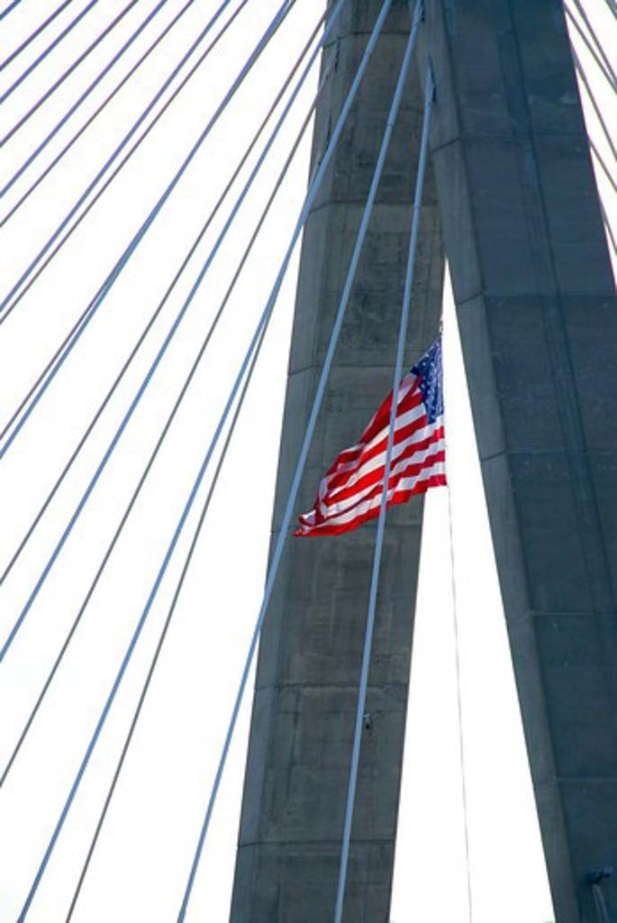 Detail of Leonard Zakim bridge in Boston with american flag : Stock Photo