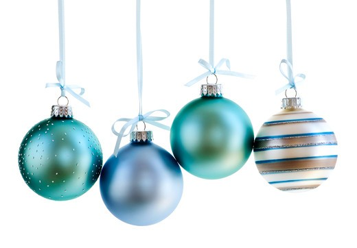 Various Christmas decoration hanging isolated on white : Stock Photo