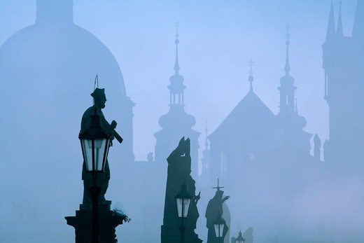 view of spires of the old town from charles bridge : Stock Photo