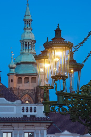 gas lantern and st. vitus cathedral at hradcany castle : Stock Photo