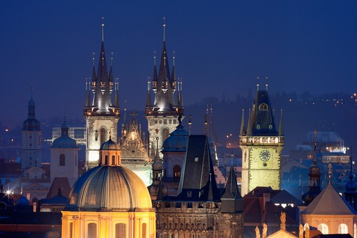 Stock Photo: 4286R-5280 czech republic, prague - spires of the old town and tyn church
