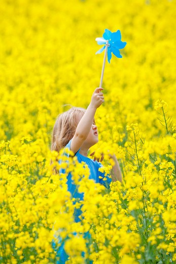 boy with long blond hair holding pinwheel in canola field : Stock Photo