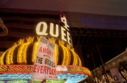 Marquee over an attraction at Fremont Street Experience in Old Town Las Vegas Nevada USA : Stock Photo