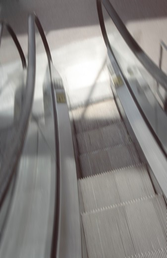 Stock Photo: 4286R-6203 Blurred image of an escalator