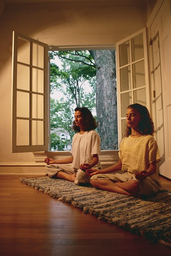 Stock Photo: 4286R-6648 A teenage girl and her mother doing yoga postures in front of a window.