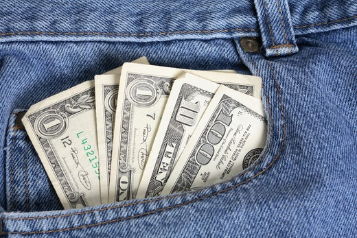 Stock Photo: 4286R-6843 Pocket full of money