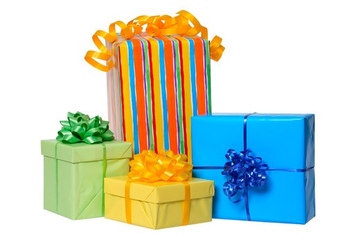 Stock Photo: 4286R-7319 Group of birthday presents