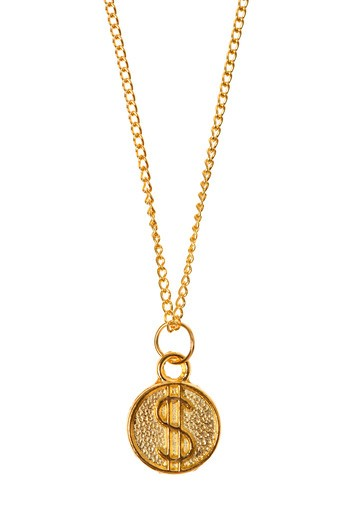 Stock Photo: 4286R-7358 Gold chain with dollar sign charm