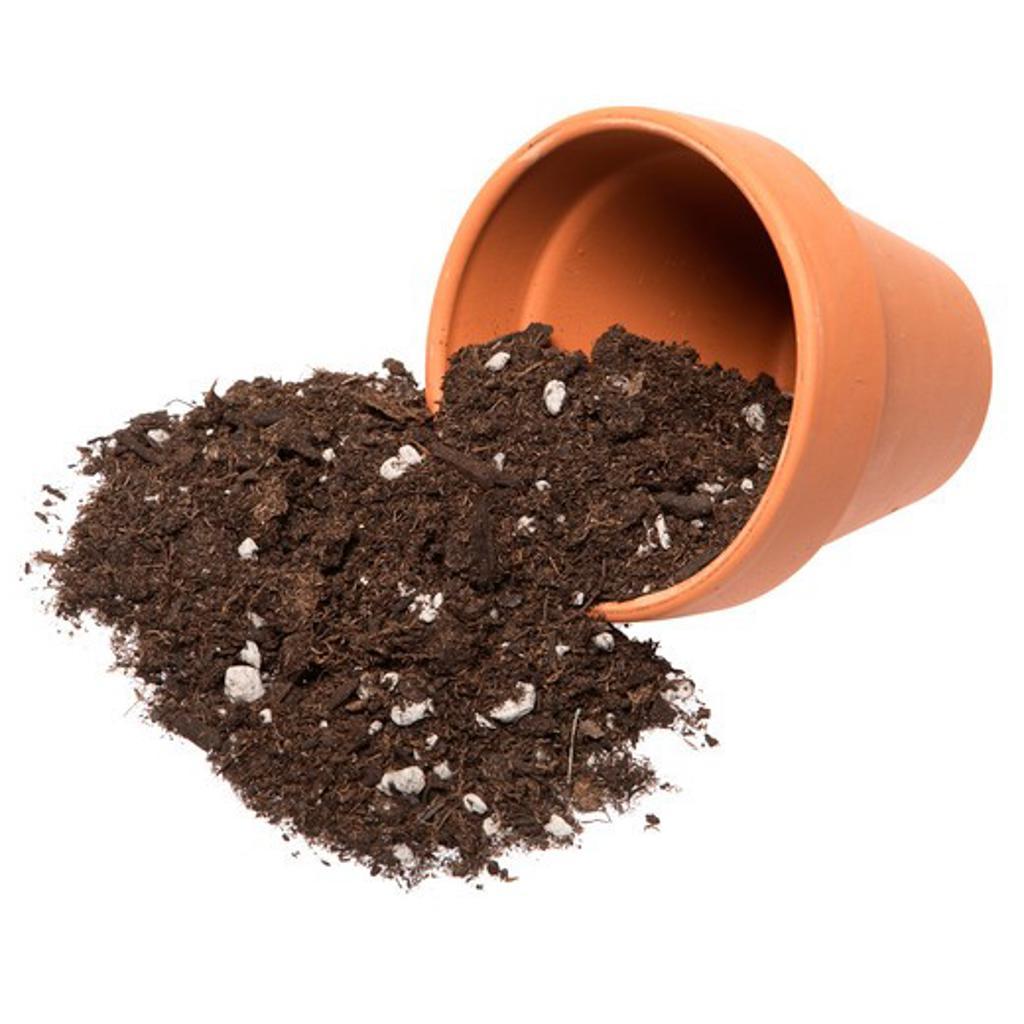 Potting soil spilling out of pot : Stock Photo