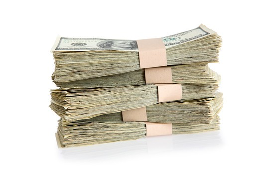 Stock Photo: 4286R-8158 Bundles of one hundred dollar bills