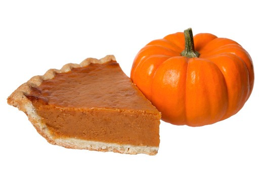 Stock Photo: 4286R-8315 Slice of pumpkin pie and pumpkin