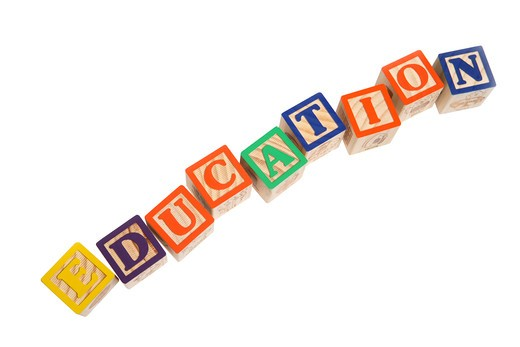 Education spelled with blocks : Stock Photo