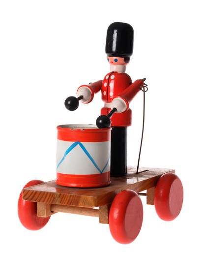 Drumming soldier toy : Stock Photo