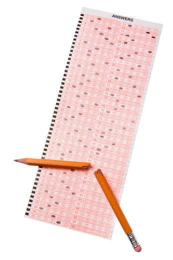 School test and broken pencil : Stock Photo