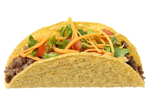 Taco, cutout on white background : Stock Photo