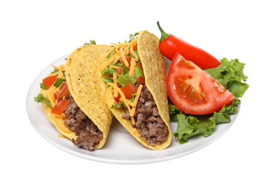 Plate with tacos,  cutout on white background : Stock Photo