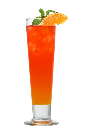 Stock Photo: 4286R-9215 Cocktail drink with orange and mint cutout, isolated on white background