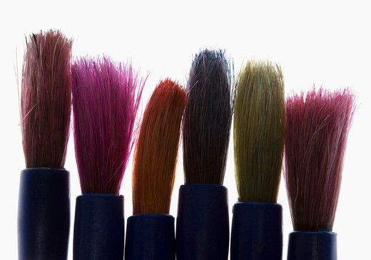 Paint brushes closeup agianst a white background. : Stock Photo