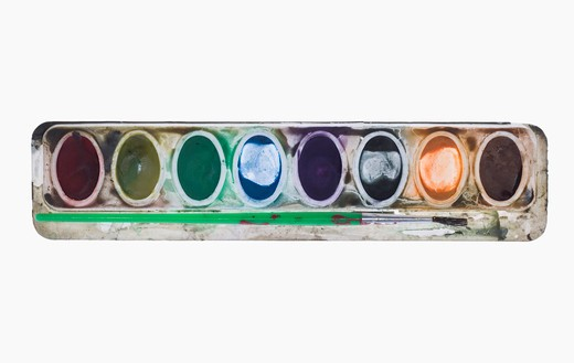 Still life of watercolor paint tray. : Stock Photo