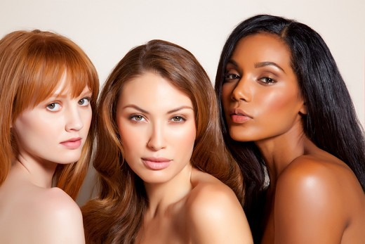 Stock Photo: 4288-1192 Three young woman with glowing skin.