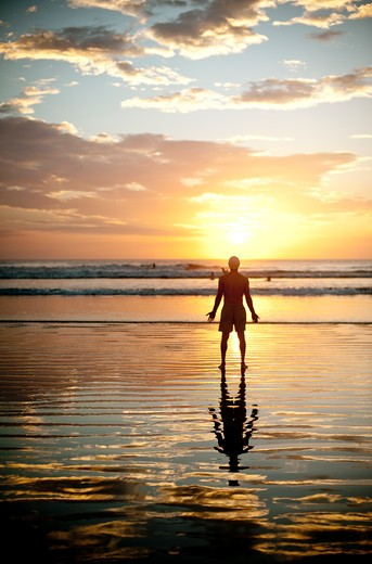 Backlit man standing on beach at dawn. : Stock Photo