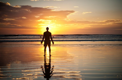 Stock Photo: 4288-1243 Backlit man standing on beach at dawn.