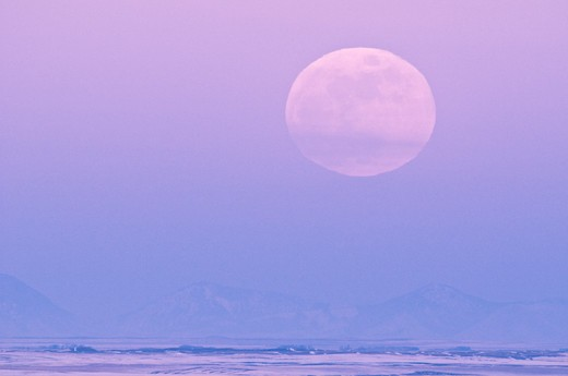 Stock Photo: 4288-1703 Full moon over Sweet Grass Hills.