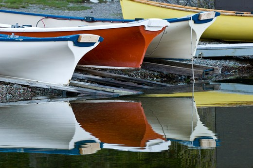 Row of boats, Medicine Lake, Glacier National Park, USA. : Stock Photo