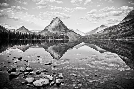 Stock Photo: 4288-1747 Reflection on Pray Lake, Sinopah Mountain, Glacier National Park, Montana, USA.