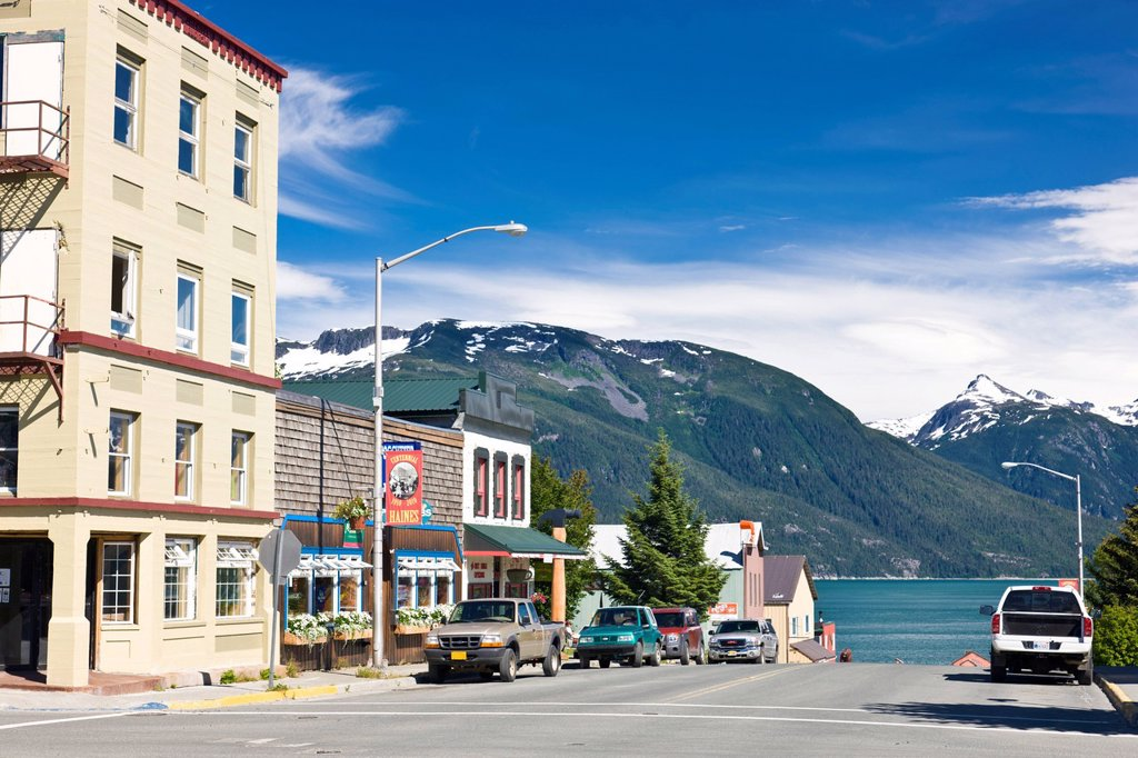 View of downtown Haines on a sunny day, Southeast Alaska, Summer : Stock Photo