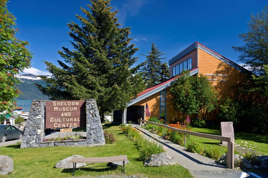 Stock Photo: 4289-10182 The Sheldon Jackson Museum in downtown Haines,Southeast Alaska, Summer