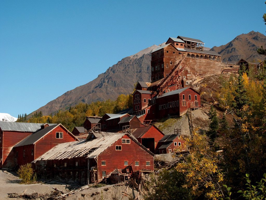 Stock Photo: 4289-10452 View of the mill building, Kennecott Mines National Historic Landmark, Wrangell_St. Elias National Park & Preserve, Southcentral Alaska, Autumn