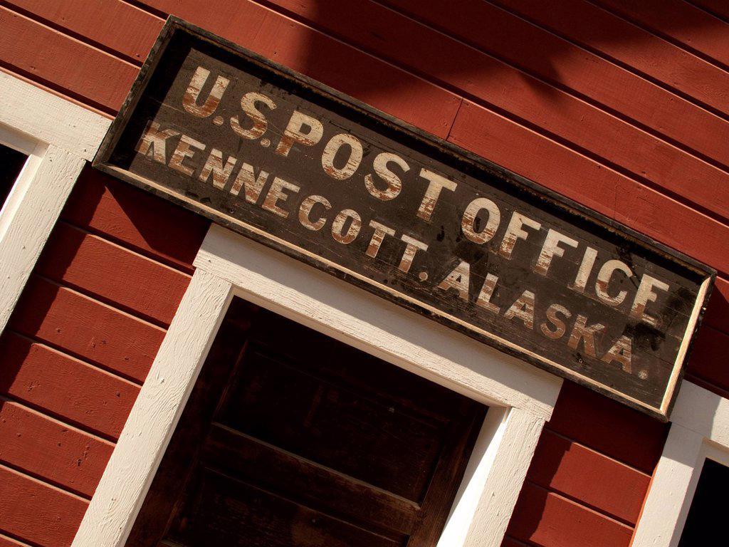 Close up of the U.S. Post Office sign at Kennecott Mines National Historic Landmark, Wrangell_St. Elias National Park & Preserve, Southcentral Alaska, Autumn : Stock Photo