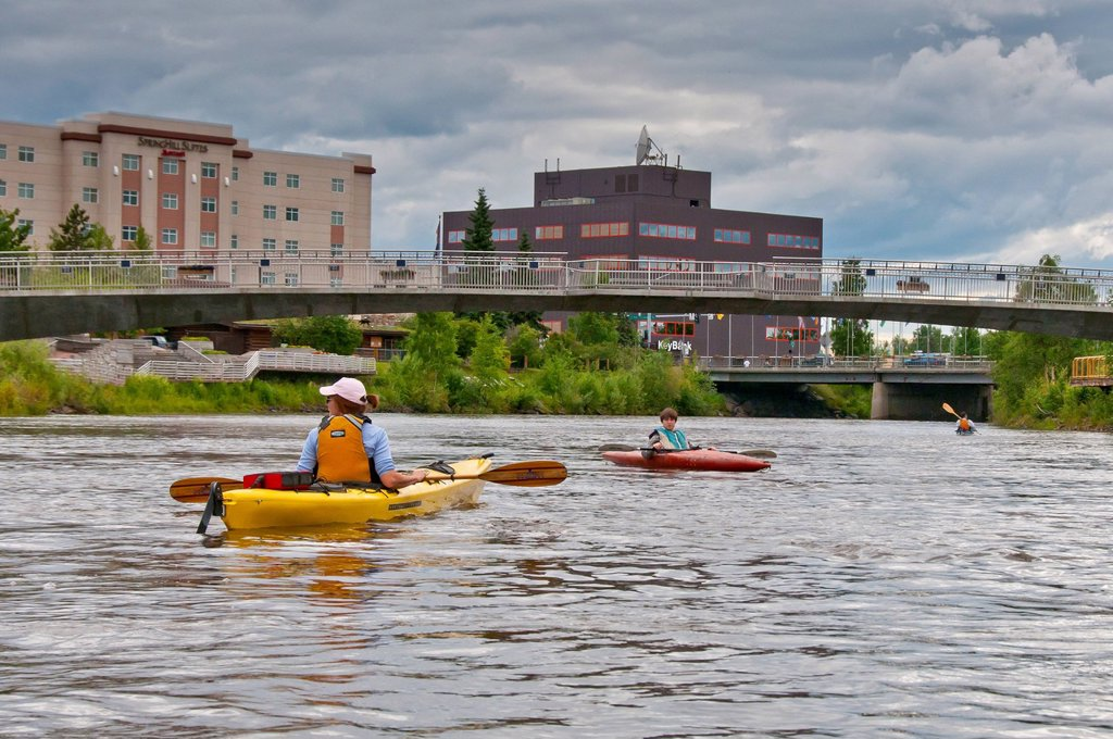 Family kayaking the Chena River in Fairbanks, Interior Alaska, Summer : Stock Photo
