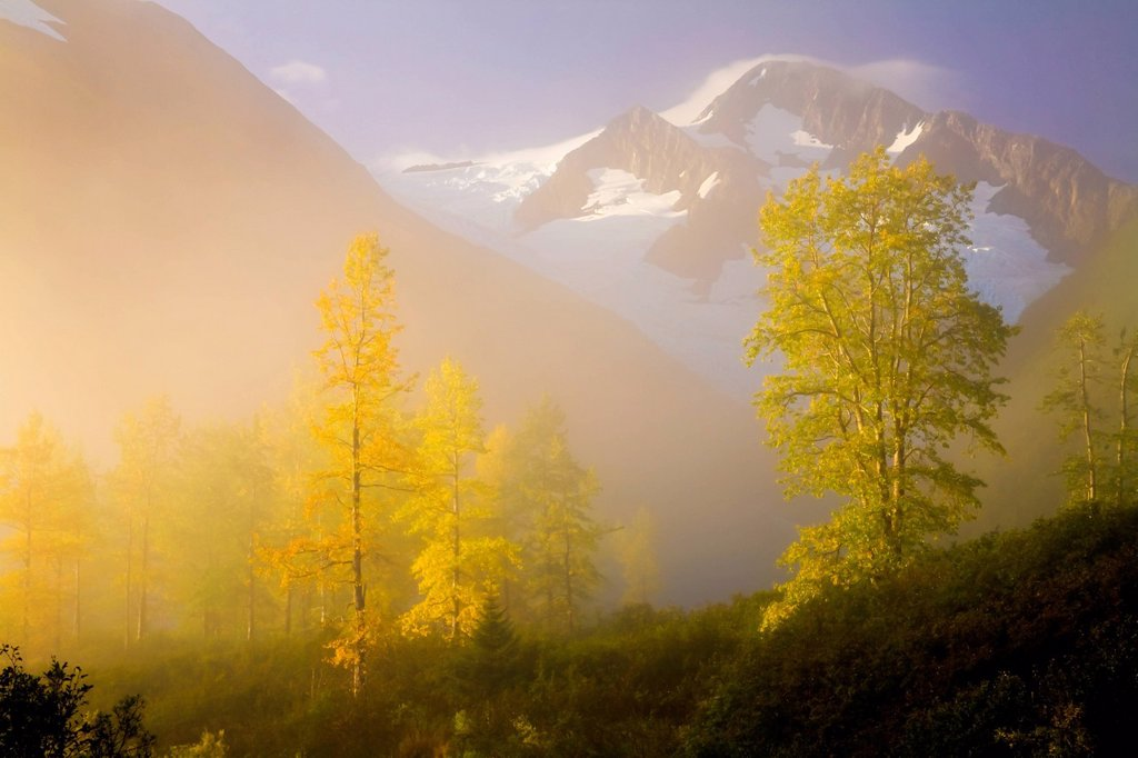 Stock Photo: 4289-12161 Scenic view of fog lifting in front of Byron Peak and Glacier, Portage Valley, Chugach National Forest, Southcentral Alaska, Autumn, HDR