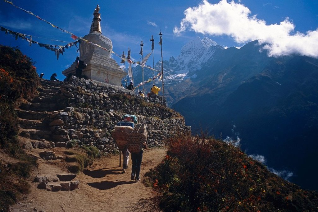 Stock Photo: 4289-12530 Buddist Stupa on trail to Mount Everest Khumba Valley Nepal
