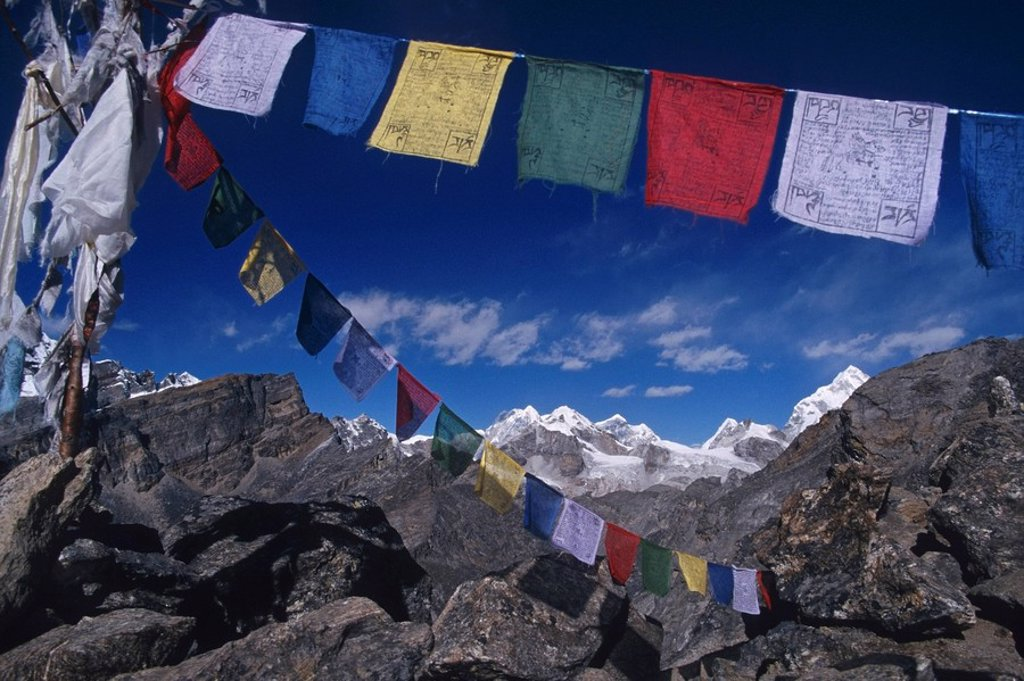 Stock Photo: 4289-12666 Prayer flags and Himalaya Mountains Nepal