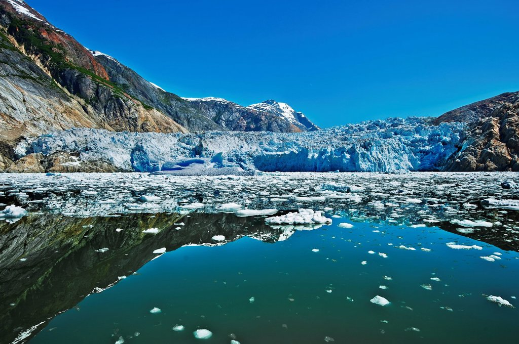 Stock Photo: 4289-13292 Summer ice bergs float in front of South Sawyer Glacier in Tracy Arm, Tracy Arm_Fords Terror Wilderness, Souhteast Alaska
