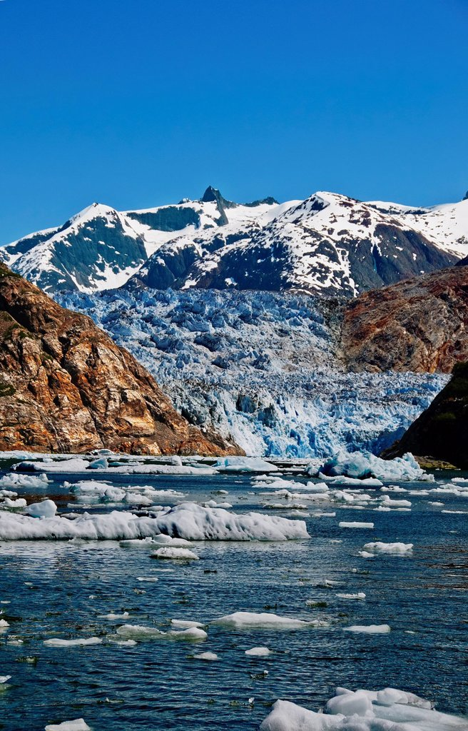 Stock Photo: 4289-13296 Summer ice bergs float in front of South Sawyer Glacier in Tracy Arm, Tracy Arm_Fords Terror Wilderness, Souhteast Alaska
