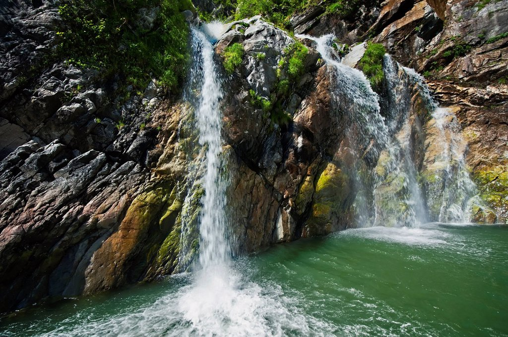 Stock Photo: 4289-13302 Scenic view of the waterfalls of a fjord in the Tracy Arm_Fords Terror Wilderness in Southeast Alaska, Summer