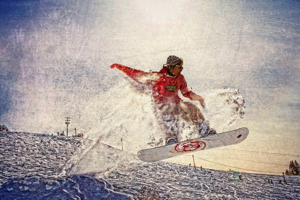 Stock Photo: 4289-13310 Artistic rendition of a snowboarder at Homer Rope Tow, Homer, Kenai Peninsula, Southcentral Alaska, Winter