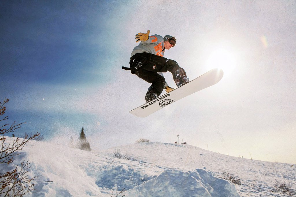 Snowboarder at Homer Rope Tow, Homer, Kenai Peninsula, Southcentral Alaska, Winter : Stock Photo