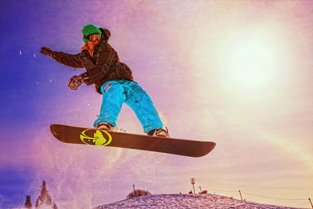 Stock Photo: 4289-13313 Artistic rendition of a snowboarder at Homer Rope Tow, Homer, Kenai Peninsula, Southcentral Alaska, Winter