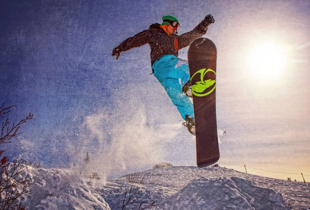 Artistic rendition of a snowboarder at Homer Rope Tow, Homer, Kenai Peninsula, Southcentral Alaska, Winter : Stock Photo