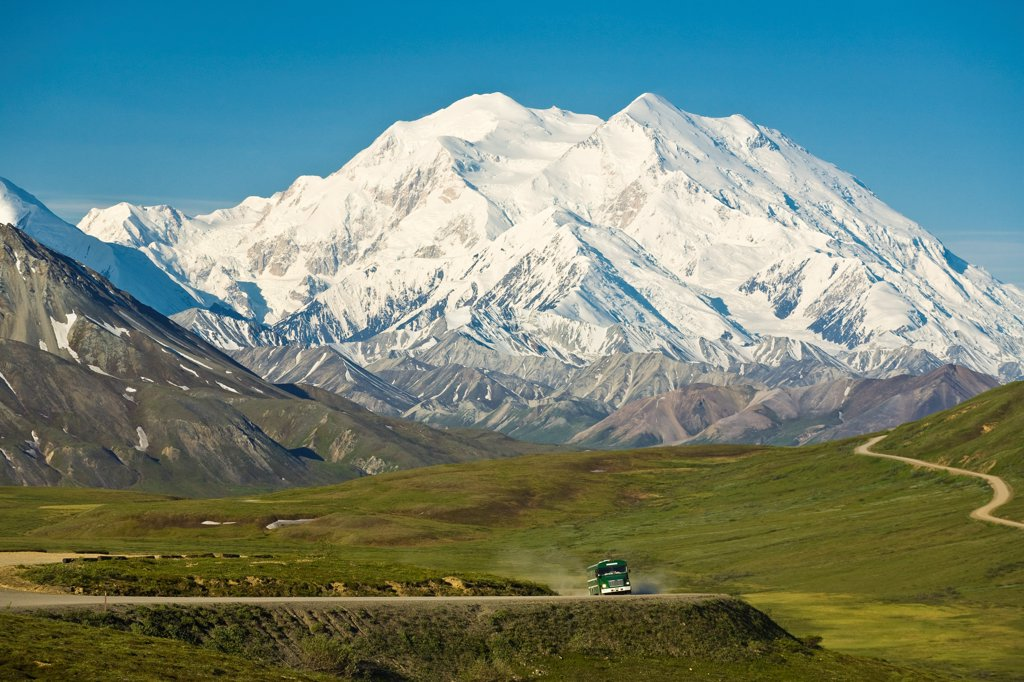 Stock Photo: 4289-13344 View of Mt. McKinley, Alaska Range and a park bus on the Park road on left from Stony Dome, looking toward Eielson Visitor Center, Denali National Park & Preserve, Interior Alaska, Summer