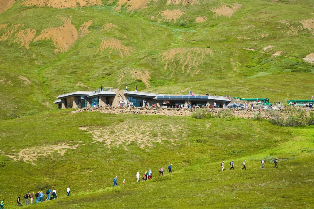 Visitors on a path in front of the new Eielson Visitor Center, Denali National Park, Interior Alaska, Summer : Stock Photo