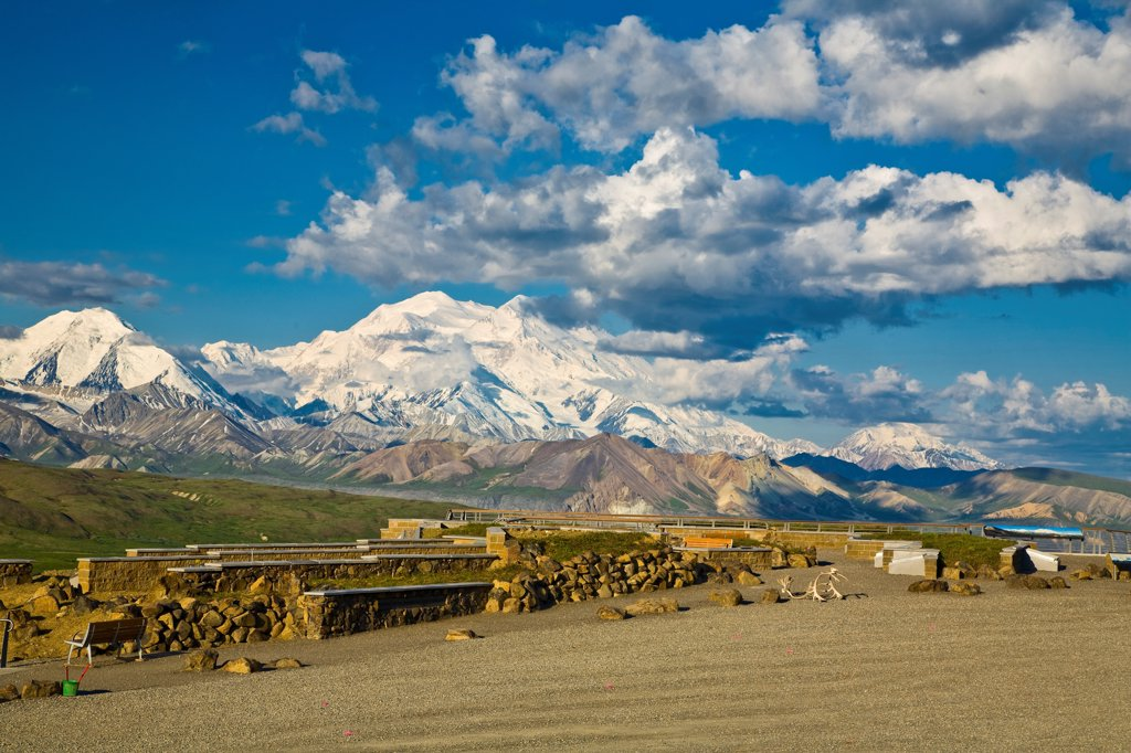 View of Mt. McKinley from a display at Eielson Visitor Center, Denali National Park & Preserve, Interior Alaska, Summer : Stock Photo